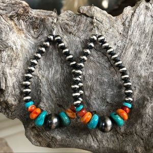 Turquoise & Spiny Oyster Navajo Pearl Style Loops